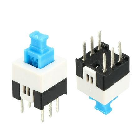 40pcs 7 x 7mm PCB Latching Tactile Tact Push Button Switch Locking 6 Pin
