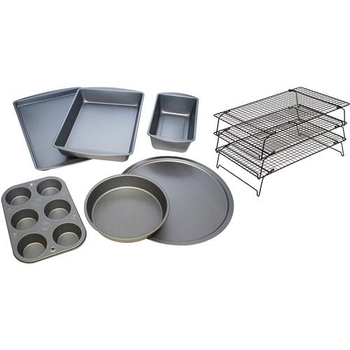 BakerEze 9-Piece Bakeware Set with 3-Tier Cooling Rack