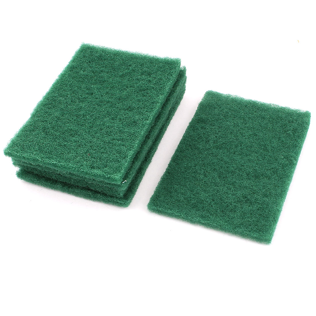 Unique Bargains Kitchen Bowl Dish Wash Clean Scrub Sponge Cleaning Pads Green 5pcs for Home Essential