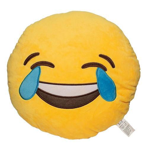 Emoji Smiley Emoticon Yellow Round Plush Pillow - Tears of Joy