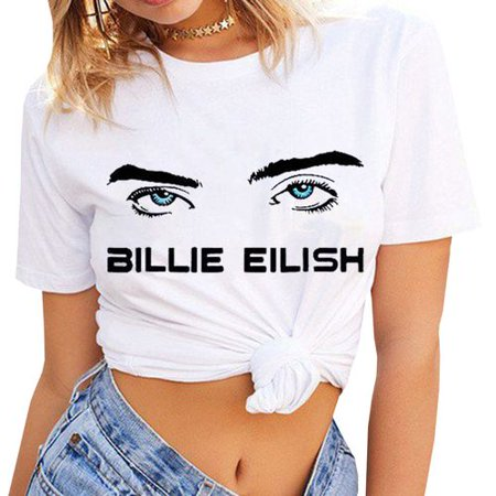 House Music T-shirts - Fancyleo Women's Billie Eilish T-Shirts Music Lover Fans Gift Eyes Graphic Print Tee Top