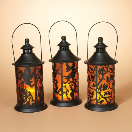 Gerson Assorted Set of 3 Battery-Operated Metal Halloween Themed Lanterns with LED Candle](Halloween Themed Meal)