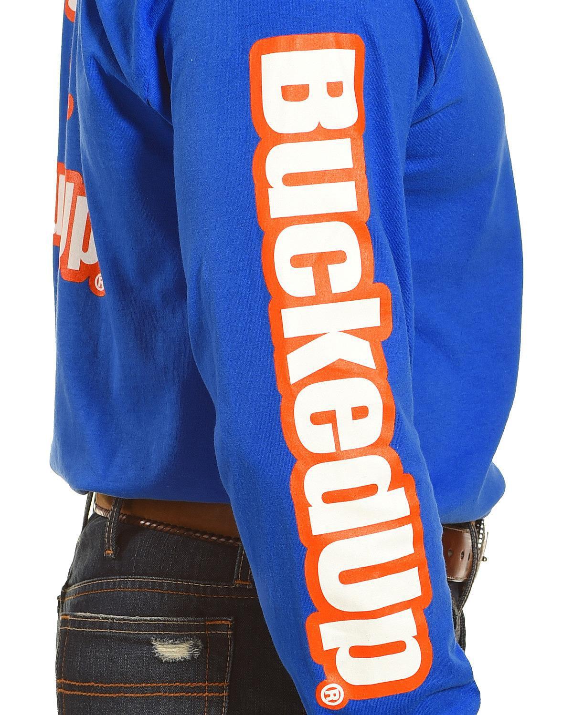 bucked up men s blue vibrant logo long sleeve shirt 303002