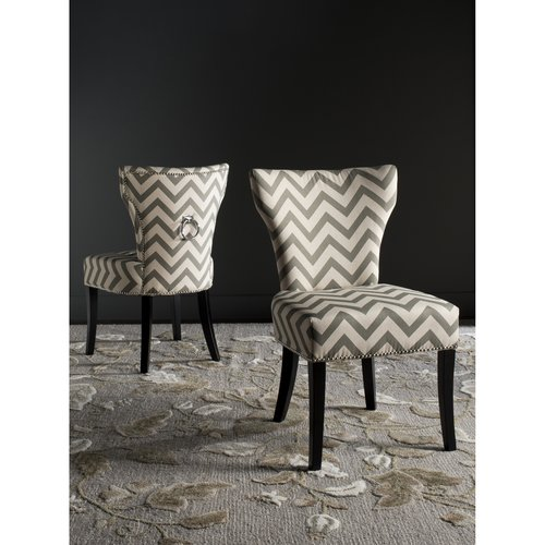 Safavieh Jappic Chevron Ring Side Chair with Silver Nail Heads