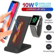 2in1 10W QI Wireless Fast Charger Charging Station Phone Holder Mount Dock Stand For iPhone XR XS MAX X 7/8 Plus for Samsung S10 S9 S8 Note 9 8 for iWatch Apple Watch 2/3/4