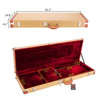 Reactionnx High Grade Electric Guitar Square Hard Case with Comfortable Molded Handle Guitar Box Flat Yellow