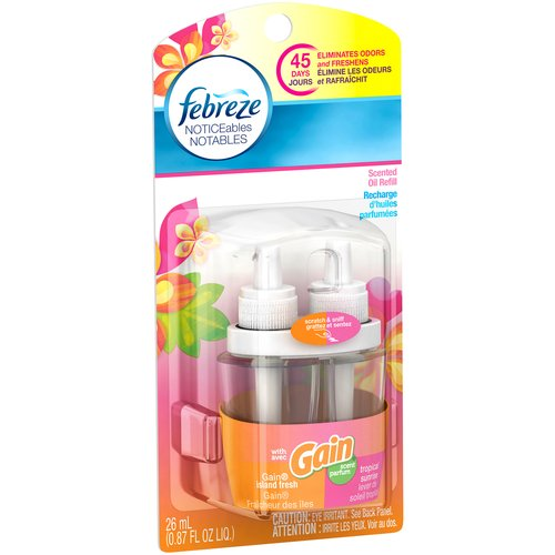 Febreze NOTICEables with Gain Island Fresh/Tropical Sunrise Scented Oil Air Freshener Refill, 0.87 fl oz