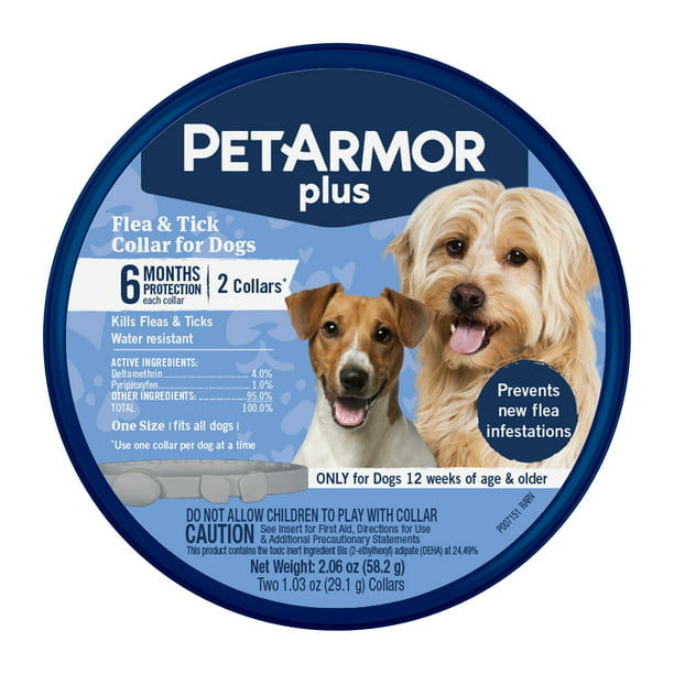 Petarmor Plus Flea Tick Collar For Dogs 6 Months Protection 2 Pack Walmart Com Walmart Com