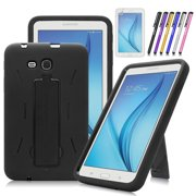 Mignova Heavy Duty Hybrid Protective Case with Kickstand Impact Resistant For Samsung Galaxy Tab E Lite 7.0 / Tab 3 Lite 7.0 SM-T110 T111 T113 + Screen Protector Film and stylus pen (Black)