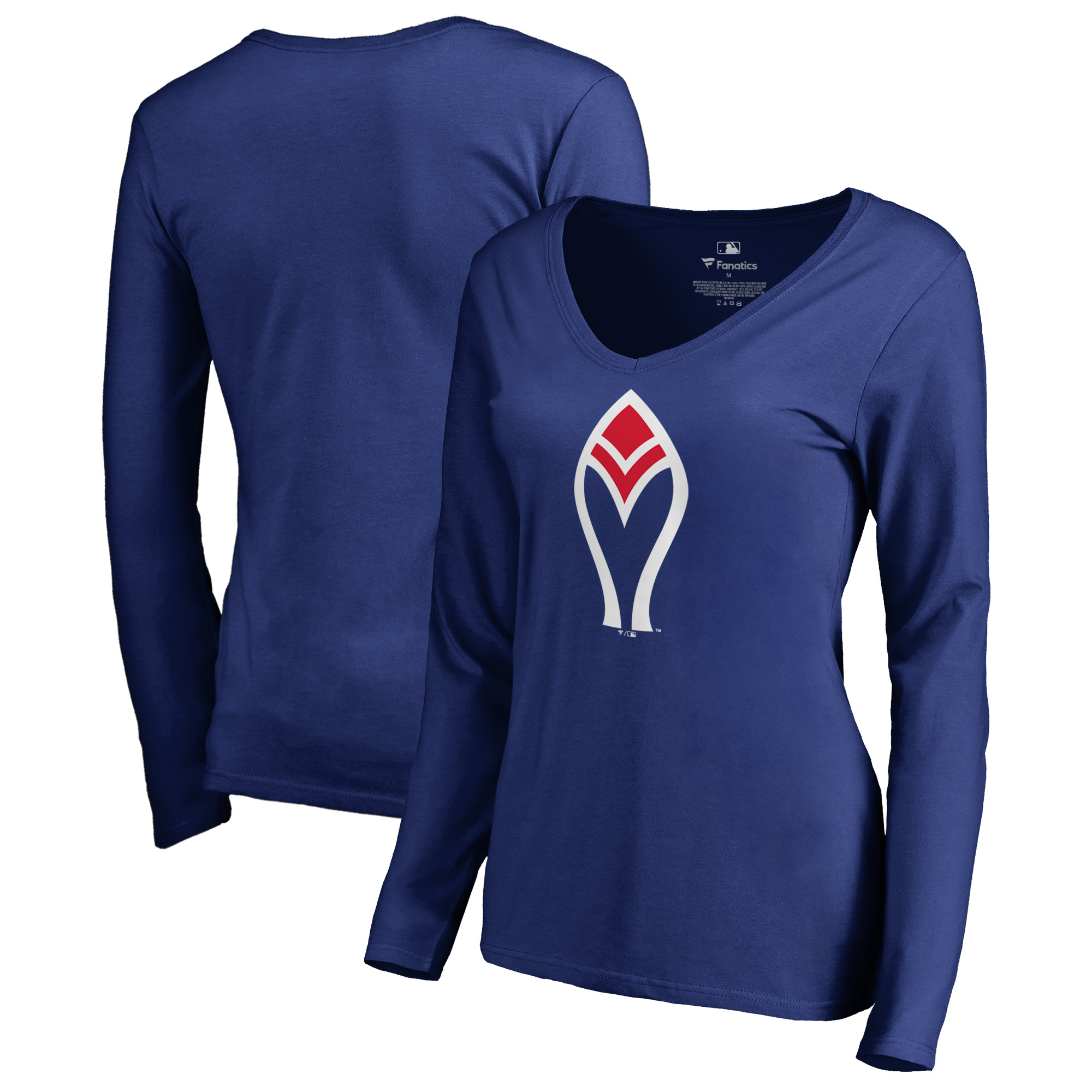 Atlanta Braves Fanatics Branded Women's Cooperstown Collection Forbes Long Sleeve V-Neck T-Shirt - Royal