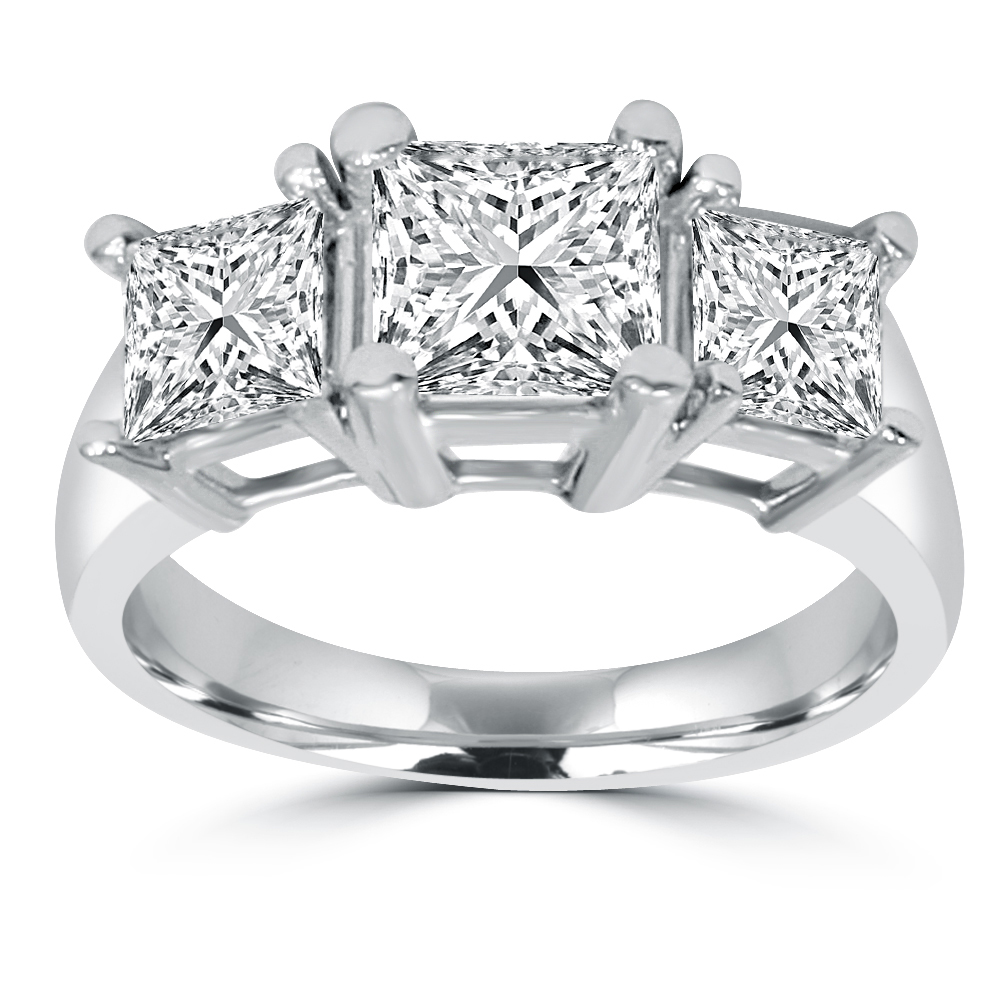 2ct Three Stone Princess Cut Diamond Ring 14K Gold