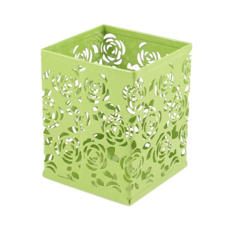 Unique Bargains Stylish Hollow Floral Design Metal Pencil Pen Holder Stand Pot Desk Organizer