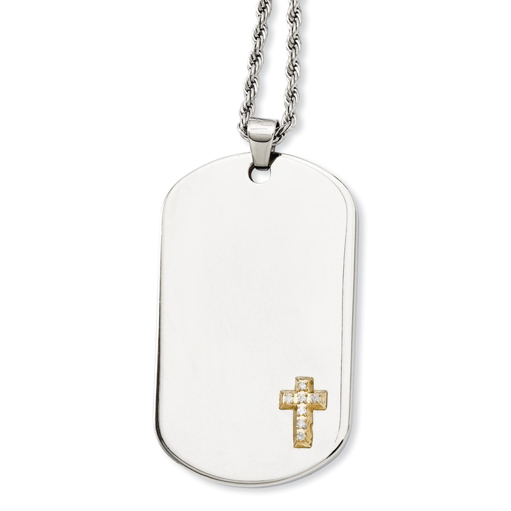 IceCarats Stainless Steel 14k Diamonds Cross Religious Dog Tag Chain Necklace Man Crucifix Fine Jewelry Gift Valentine... by IceCarats