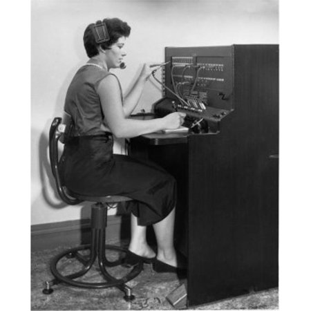 Posterazzi SAL2552213 Side Profile of a Female Telephone Operator Operating a Telephone Switchboard Poster Print - 18 x 24 in. - image 1 of 1