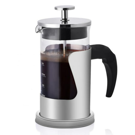 HURRISE 350ML 304 Stainless Steel & Glass Heat Resistant French Press Coffee & Tea Makers - Pot Heat Resistant Tea Maker