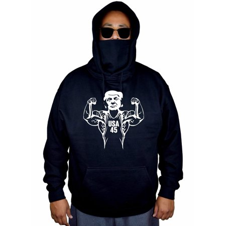 Men's Buff Donald Trump 45th President US Black Mask Hoodie Sweater Large Black](Presidents Mask)