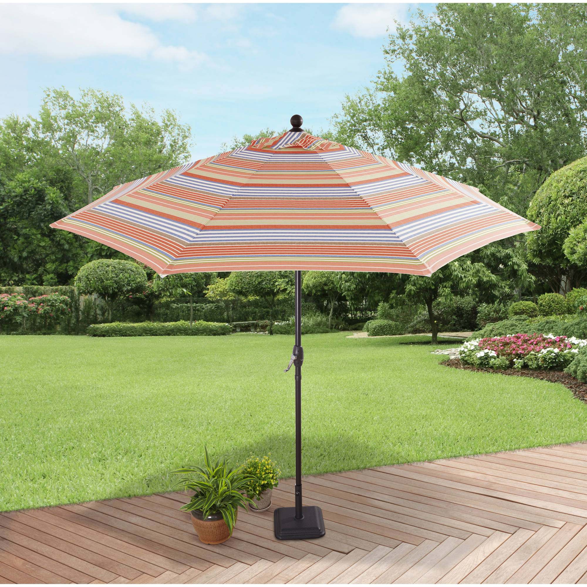 Better Homes and Gardens 9' Market Umbrella, Bright Stripe by