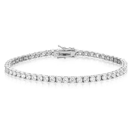 Tennis Bracelet Rhodium Plated Brass Round Cut 3mm Cubic Zirconia 7.25 inch 3mm Silver Diamond Cut Bracelet