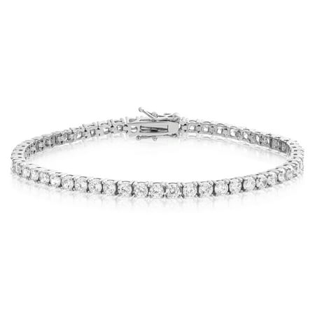 Tennis Bracelet Rhodium Plated Brass Round Cut 3mm Cubic Zirconia 7.25 inch