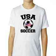 USA Soccer - with Large Soccer Ball & Flag - Olympic Boy's Cotton Youth T-Shirt