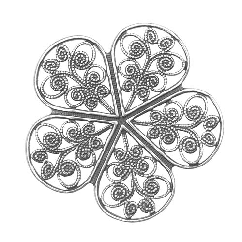 Silver Plated Pimpernel Flower Petal Filigree Stamping 36mm (1)