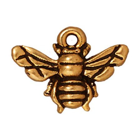 22K Gold Plated Pewter Honey Bee Charm 11.7mm (1)](Bee Charms)
