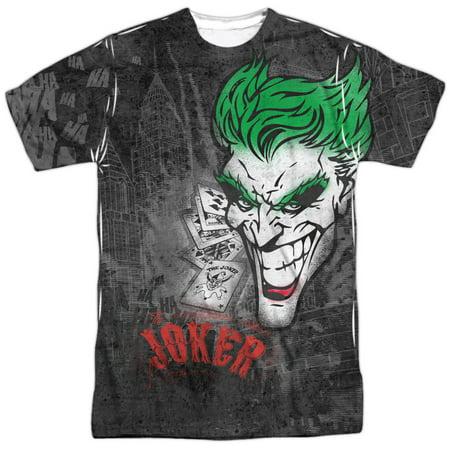 Cartoon TV Series Movie Joker Sprays the City Adult Front Print T-Shirt - Joker Tie