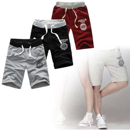 Comfortable Middle Waist Summer Men Casual Cotton Blended Beach Shorts Five Sub Pants Waistband Classic Elasticized Cuffs Wine Red M