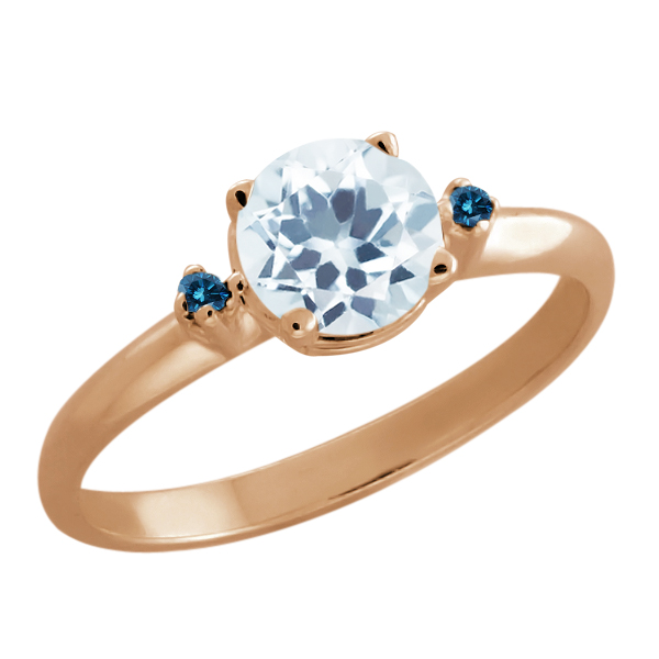 0.77 Ct Round Sky Blue Aquamarine Blue Diamond Gold Plated Sterling Silver Ring