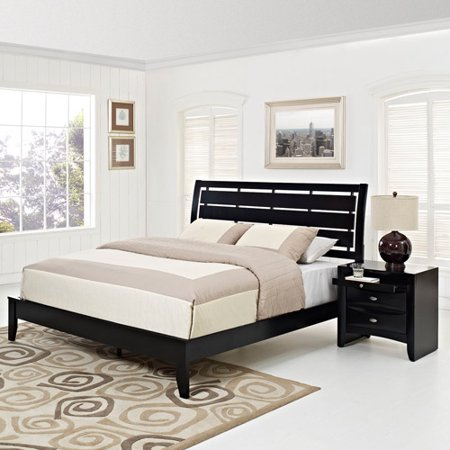 Modway Olivia 2-Piece Queen Contemporary Bedroom Set in Black