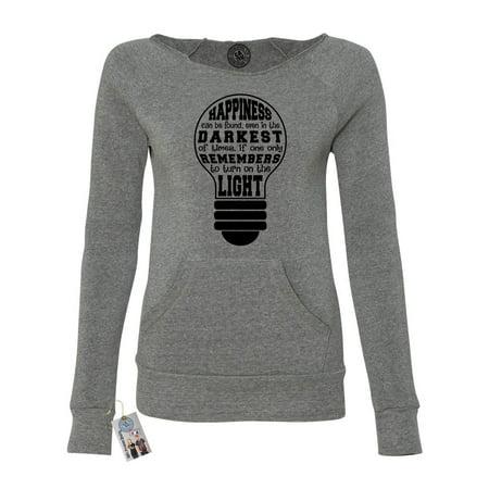 Happiness Found in Darkest Time Womens Off Shoulder Pocket Sweatshirt