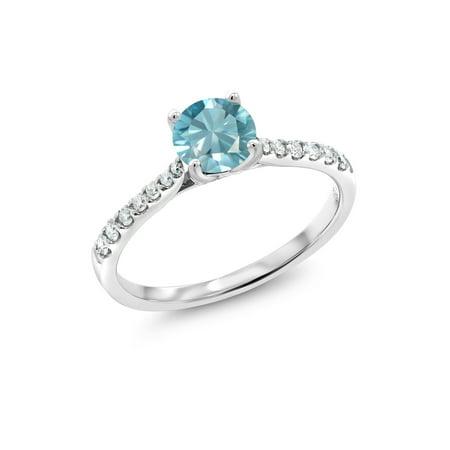 0.92 Ct Round Blue Zircon G/H Lab Grown Diamond 10K White Gold Ring