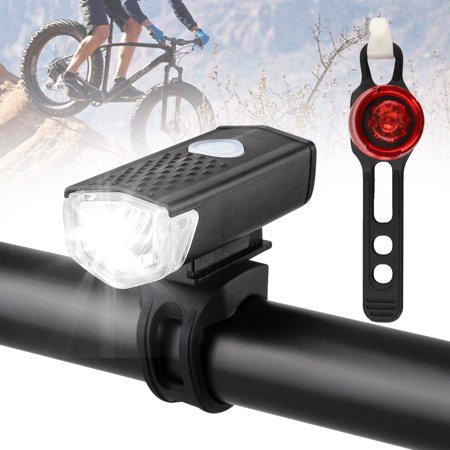 USB Rechargeable Bike Light Set Powerful Lumens Bicycle Headlight Free Tail Light, LED Front and Back Rear Lights Easy to Install for Kids Men Women Road Cycling Safety