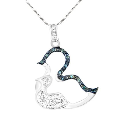 Black & White Natural Diamond Mom & Baby Duck Pendant Necklace in 14k White Gold Over Sterling Silver (Ducks Logo Pendant)