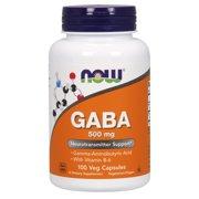 NOW Supplements, GABA (Gamma-Aminobutyric Acid) 500 mg + B-6, Natural Neurotransmitter*, 100 Veg Capsules