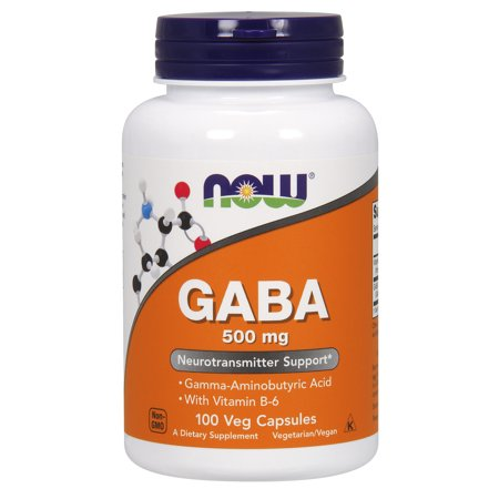NOW Supplements, GABA (Gamma-Aminobutyric Acid)500 mg + B-6, 100 Veg Capsules - Gaba Dietary Supplement