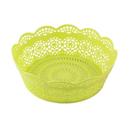 Masons Fruit Basket Green (Household Plastic Hollow Out Flower Design Vegetable Fruit Storage Basket)