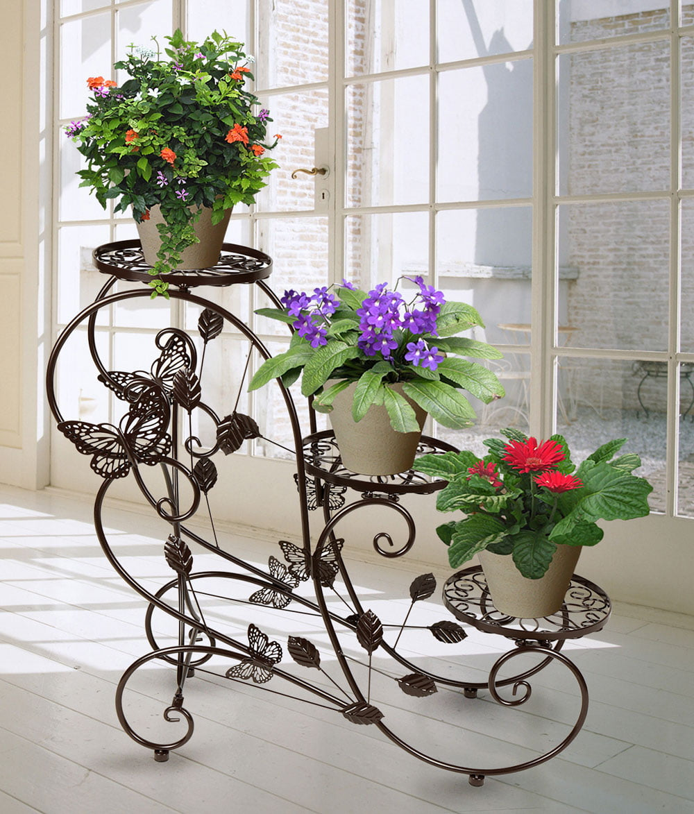 Classic Plant Stand Shelf Holds 3-flower Pot Bronze by HLC