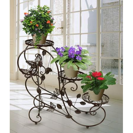 - Classic Plant Stand Shelf Holds 3-flower Pot Bronze