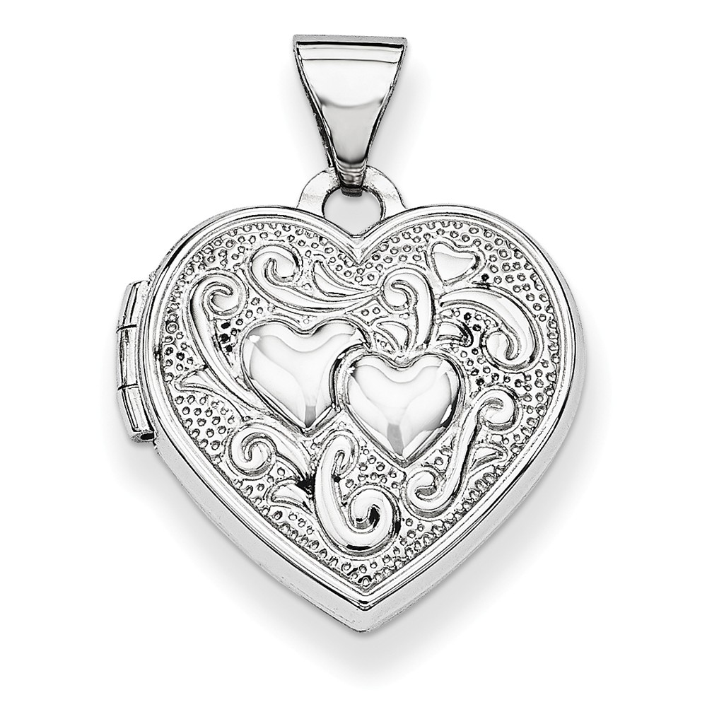 ICE CARATS 14kt White Gold Heart Photo Pendant Charm Locket Chain Necklace That Holds Pictures Fine Jewelry Ideal Gifts... by IceCarats Designer Jewelry Gift USA
