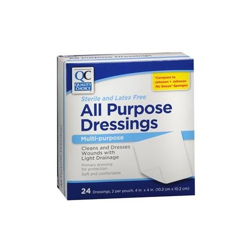 Quality Choice All Purpose Dressings, 4 x 4 Inch Bandages 24 Each