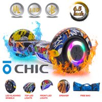 CHIC® UL Certified Electric Hoverboard w/ 6.5in Wheels, LED Sensor Lights, LED Wheel Well Lights, Bluetooth Speaker; Ideal for Boys and Girls Graffiti Color (HB-Z29-GRAFFITI3)