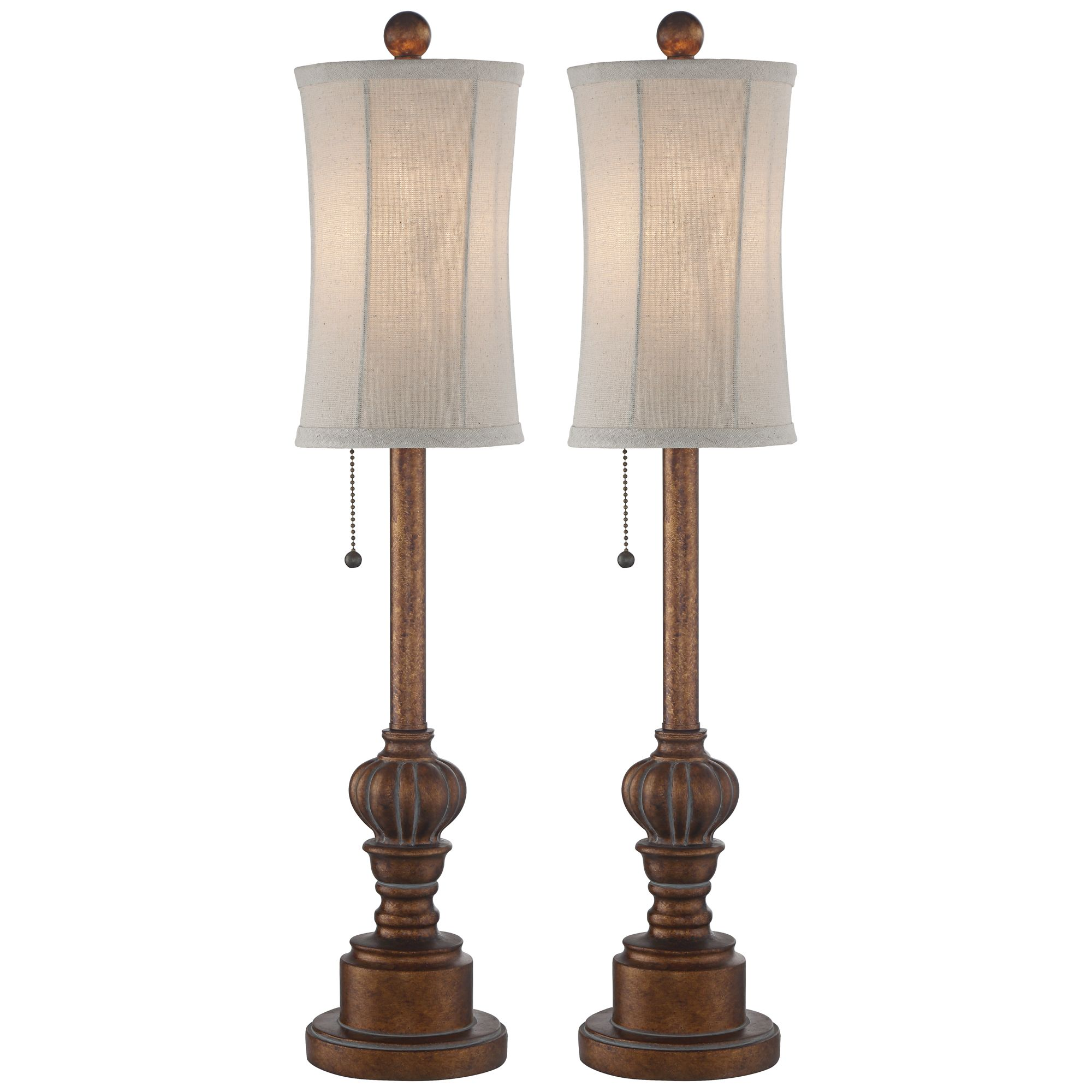 Picture of: Regency Hill Traditional Buffet Table Lamps Set Of 2 Warm Brown Wood Tone Tall Fabric Drum Shade For Dining Room Walmart Com Walmart Com