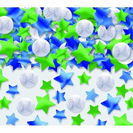 Amscan Exciting Baseball Themed Metallic Party Confetti Pack Mixes, 2.5 oz, White/Green/Blue - Baseball Themed Party