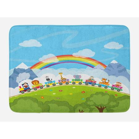 Train Mountain Railroad - Nursery Bath Mat, Cartoon Railway Train with Various Animals and a Rainbow Mountains Clouds Trees, Non-Slip Plush Mat Bathroom Kitchen Laundry Room Decor, 29.5 X 17.5 Inches, Multicolor, Ambesonne