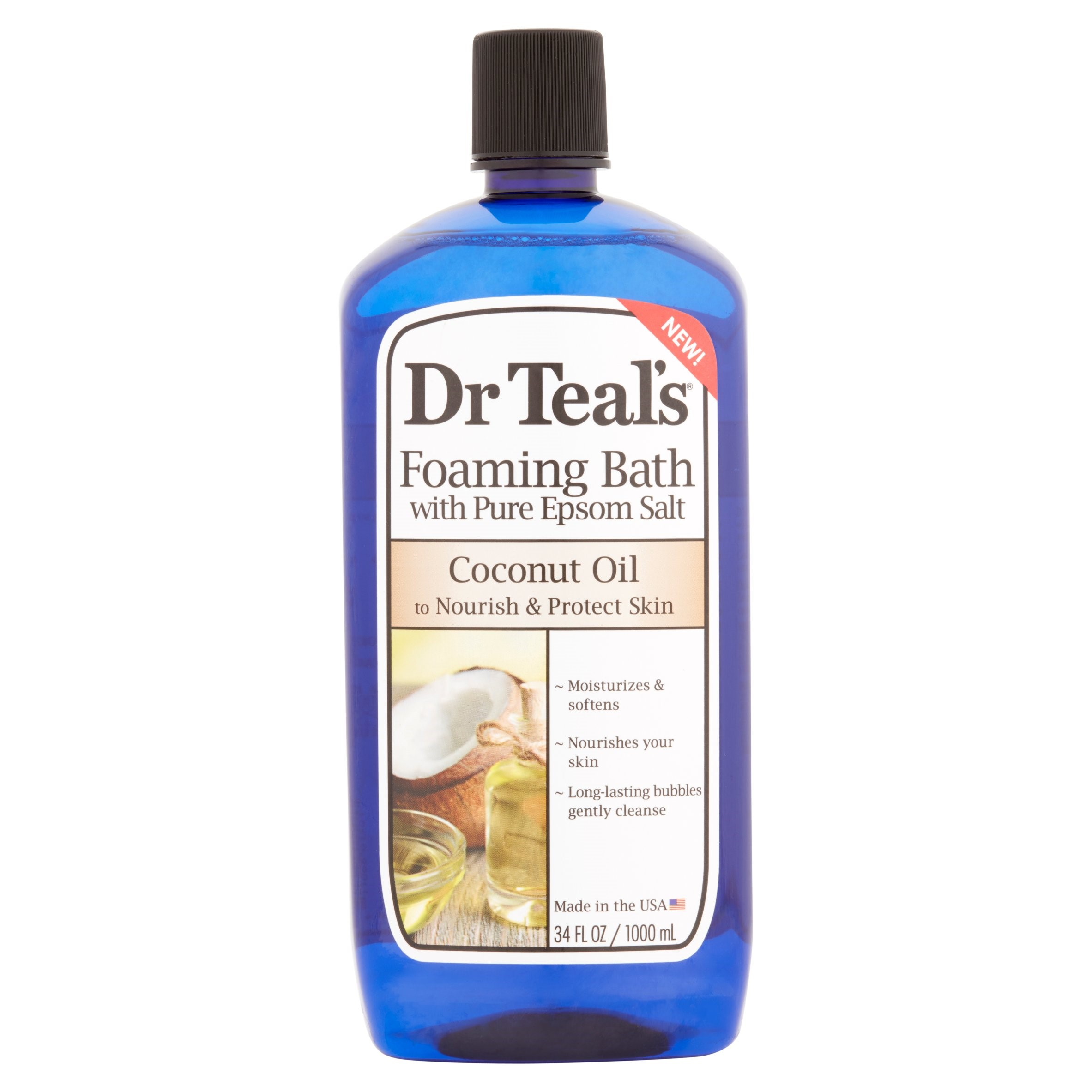 Dr Teal's Foaming Bubble Bath with Pure Epsom Salt and Coconut Oil, 34 fl oz