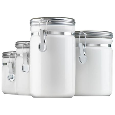 Anchor Hocking 4-Piece Ceramic Clamp Top Canister Set, White