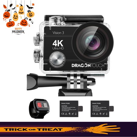 Dragon Touch 4K Sport Action Camera WiFi Waterproof Cameras 16MP Vision 3 Sport Camcorders with Wide Angle Remote Control ()