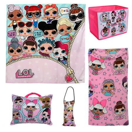 L.O.L. Surprise! 5Pc Kids Bedroom Set w/ Blanket, Pillows, Wall Tapestry, and Storage Bin - Kids Stores Online