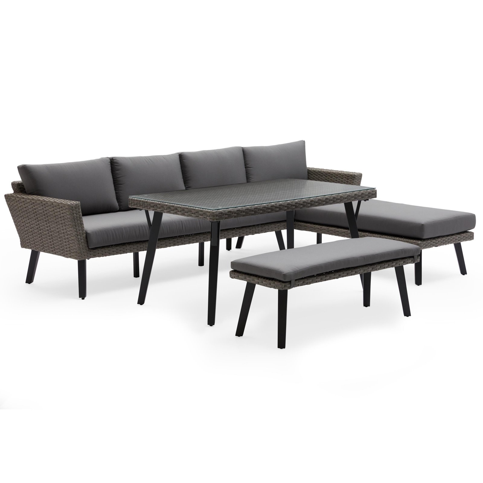 MoDRN Scandinavian Lina Outdoor Patio Casual Dining Sectional Set